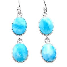 11.93cts natural blue larimar 925 sterling silver dangle earrings jewelry t44636
