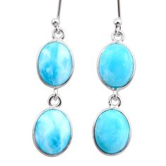 11.93cts natural blue larimar 925 sterling silver dangle earrings jewelry t44638