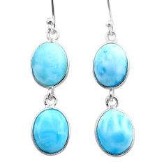 13.08cts natural blue larimar 925 sterling silver dangle earrings jewelry t44639