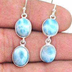 12.54cts natural blue larimar 925 silver handmade dangle earrings t44739