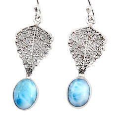 4.24cts natural blue larimar 925 sterling silver deltoid leaf earrings r48241