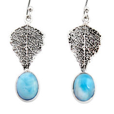 4.21cts natural blue larimar 925 sterling silver deltoid leaf earrings r48245