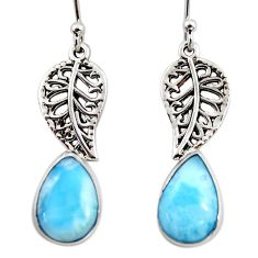 6.39cts natural blue larimar 925 sterling silver deltoid leaf earrings r48253