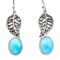 4.43cts natural blue larimar 925 sterling silver deltoid leaf earrings r48254