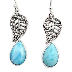 6.70cts natural blue larimar 925 sterling silver deltoid leaf earrings r48266
