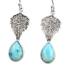 6.03cts natural blue larimar 925 sterling silver deltoid leaf earrings r48273