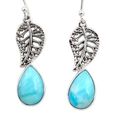 6.70cts natural blue larimar 925 sterling silver deltoid leaf earrings r48275