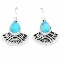 5.52cts natural blue larimar 925 sterling silver handmade earring r83761