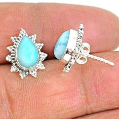 4.34cts natural blue larimar 925 sterling silver stud earrings jewelry t3841