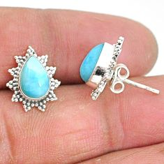 4.30cts natural blue larimar 925 sterling silver stud earrings jewelry t3850