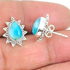 4.25cts natural blue larimar 925 sterling silver stud earrings jewelry t3856