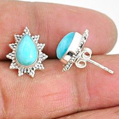 4.34cts natural blue larimar 925 sterling silver stud earrings jewelry t3859