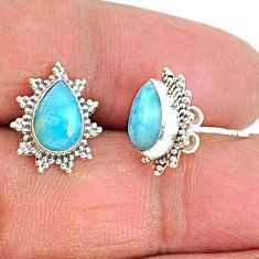 4.34cts natural blue larimar 925 sterling silver stud earrings jewelry t3860