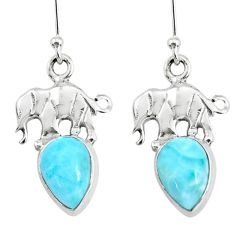 4.63cts natural blue larimar 925 sterling silver elephant earrings r72403