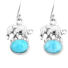 5.54cts natural blue larimar 925 sterling silver elephant earrings r72421