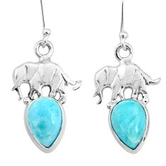 5.36cts natural blue larimar 925 sterling silver elephant earrings r72424