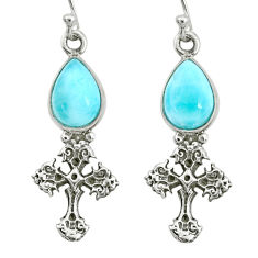 5.28cts natural blue larimar 925 sterling silver holy cross earrings r72405