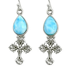 5.79cts natural blue larimar 925 sterling silver holy cross earrings r72429