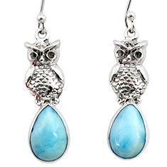 7.33cts natural blue larimar 925 sterling silver owl earrings jewelry r48267