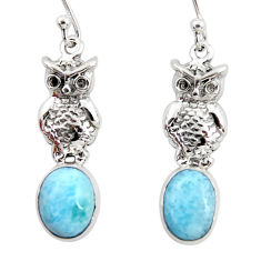 4.61cts natural blue larimar 925 sterling silver owl earrings jewelry r48278