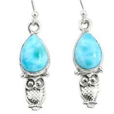 5.03cts natural blue larimar 925 sterling silver owl earrings jewelry r72410