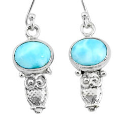 4.71cts natural blue larimar 925 sterling silver owl earrings jewelry r72411