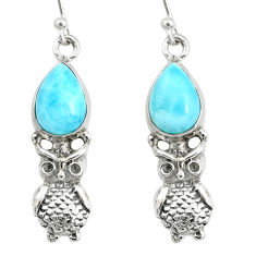 5.53cts natural blue larimar 925 sterling silver owl earrings jewelry r72416