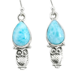 5.03cts natural blue larimar 925 sterling silver owl earrings jewelry r72431