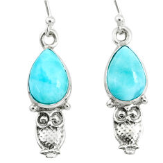 5.06cts natural blue larimar 925 sterling silver owl earrings jewelry r72435