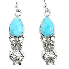 5.57cts natural blue larimar 925 sterling silver owl earrings jewelry r72436