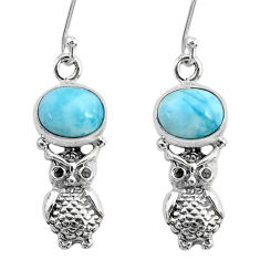 5.11cts natural blue larimar 925 sterling silver owl earrings jewelry r72574