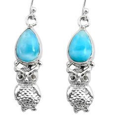 5.13cts natural blue larimar 925 sterling silver owl earrings jewelry r72575