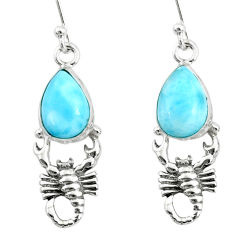 5.11cts natural blue larimar 925 sterling silver scorpion earrings r72407