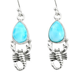 5.53cts natural blue larimar 925 sterling silver scorpion earrings r72414