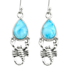 5.36cts natural blue larimar 925 sterling silver scorpion earrings r72422