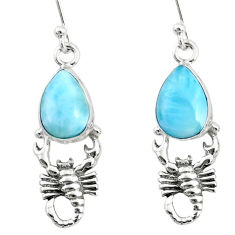 5.36cts natural blue larimar 925 sterling silver scorpion earrings r72427