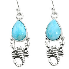 5.13cts natural blue larimar 925 sterling silver scorpion earrings r72577