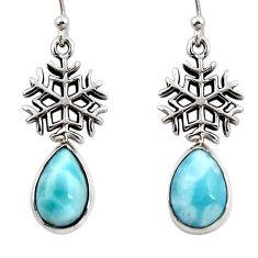 7.06cts natural blue larimar 925 sterling silver snowflake earrings r48262