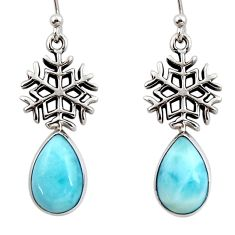 6.84cts natural blue larimar 925 sterling silver snowflake earrings r48274