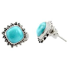 6.61cts natural blue larimar 925 sterling silver stud earrings jewelry r36602