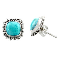 6.61cts natural blue larimar 925 sterling silver stud earrings jewelry r36603
