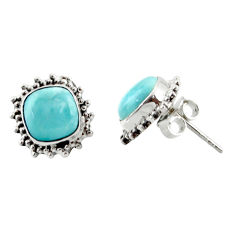 6.51cts natural blue larimar 925 sterling silver stud earrings jewelry r36605