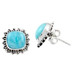6.85cts natural blue larimar 925 sterling silver stud earrings jewelry r36606