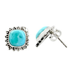 6.61cts natural blue larimar 925 sterling silver stud earrings jewelry r36607