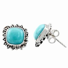 6.83cts natural blue larimar 925 sterling silver stud earrings jewelry r36609