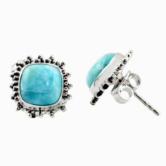 6.82cts natural blue larimar 925 sterling silver stud earrings jewelry r36611