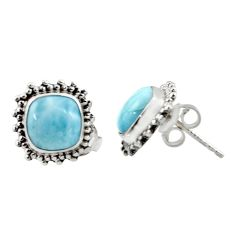 6.49cts natural blue larimar 925 sterling silver stud earrings jewelry r36613
