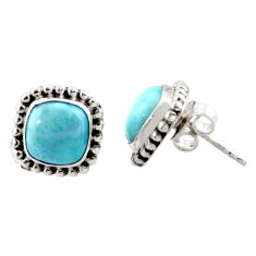 7.24cts natural blue larimar 925 sterling silver stud earrings jewelry r36615