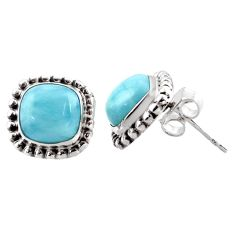 7.24cts natural blue larimar 925 sterling silver stud earrings jewelry r36619