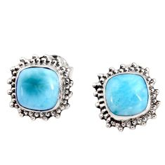 6.83cts natural blue larimar 925 sterling silver stud earrings jewelry r36859